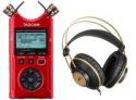 Tascam DR-40X Four-Track Digital Audio Recorder + AKG K92 Studio Headphones