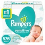 576-Count Pampers Sensitive Water Based Baby Wipes (Unscented)
