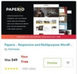 Paperio – Responsive and Multipurpose WordPress Blog Theme Free