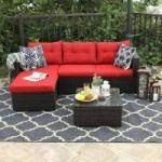 3-Piece Phi Villa Rattan Outdoor Sectional Sofa Set (Beige or Red)